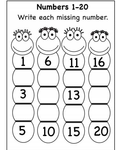 ارقام 1-20 ورك شيت - Numbers 1-20 Worksheet