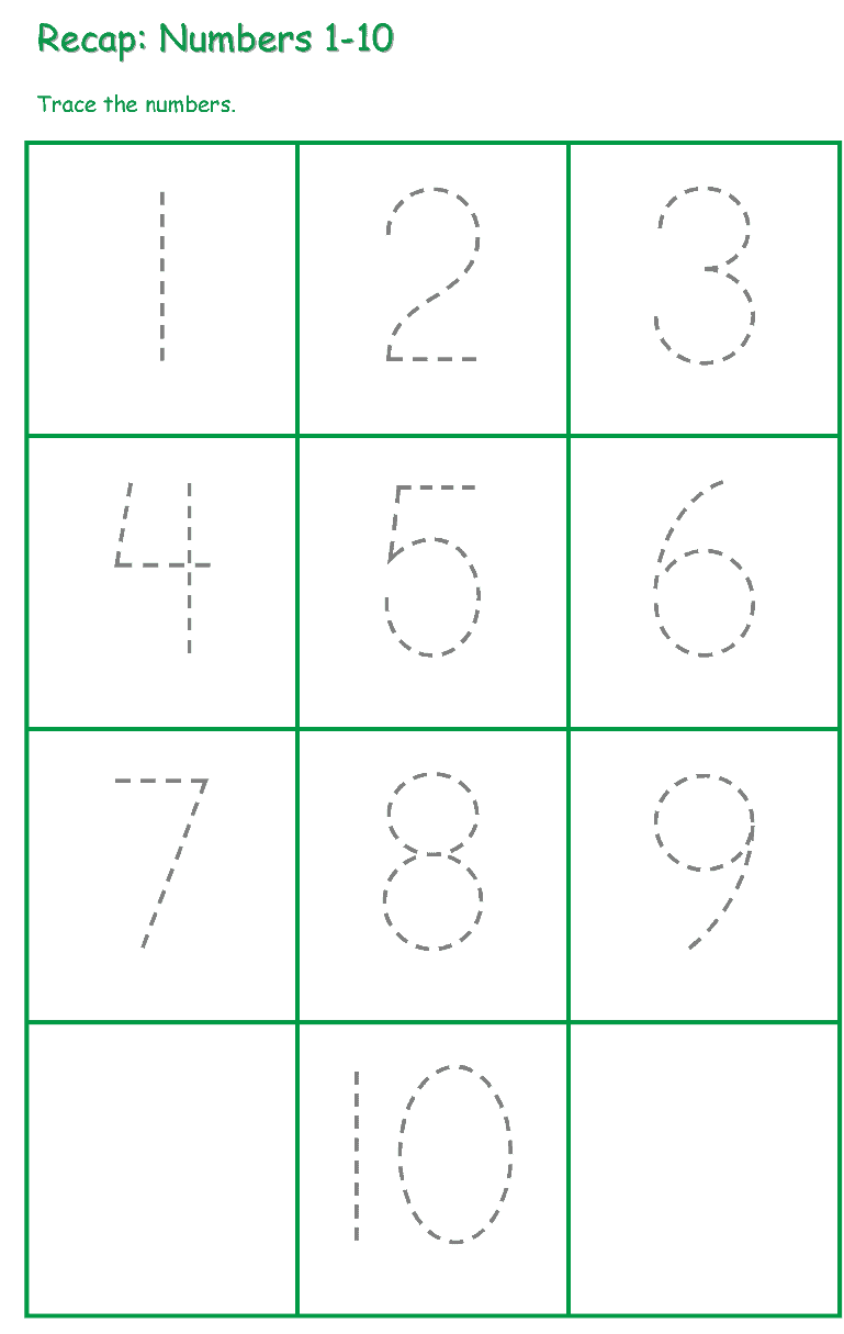 ارقام ورك شيت - Number Tracing Worksheet